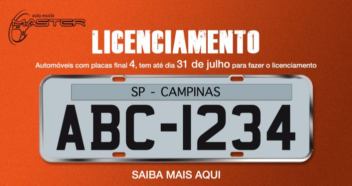 Licenciamento placa final 4